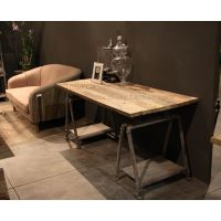 厂家直供实木复古美式风格实用大方的铁艺大班桌
