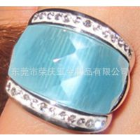 供应不锈钢宝石戒指、欧美风格绿松石戒指