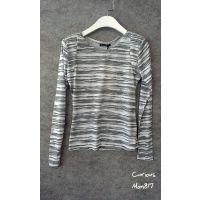 韩国进口换标 灰色水墨斑马纹垫肩长袖打底衫T恤