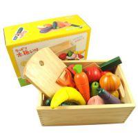 外贸原单 出口日本 木盒蔬菜水果过家家切切看玩具 木制玩具
