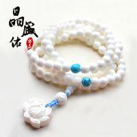 天然水晶白砗磲佛珠手链 白砗磲加莲花108颗手链 佛珠 念珠 车挂