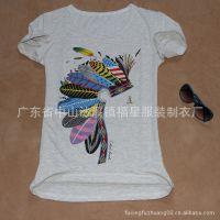 厂家定做森女学院女生羽毛纯棉奥戴尔圆领短袖T恤弹力大码打底衫