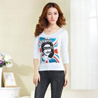 实拍2015新款韩版女装修身印花烫钻大码长袖打底衫T恤