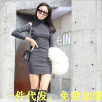 E525 2014新韩国代购秋冬挖空肩高领长袖修身打底衫一件代发淘宝