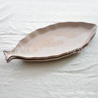 出口欧美原单高温白瓷鱼形碟/创意超大盘子/鱼碟