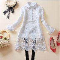早春新款 韩版衬衫纯色蕾丝休闲包臀修身中长款衬衣 女式衬衫