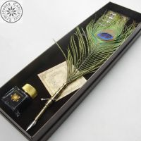 peacock feather pen孔雀羽毛笔 蘸水笔 复古礼品笔 定制礼品 艺术收藏品