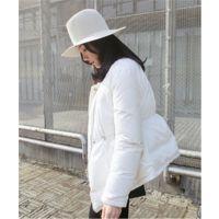 现货 MALI/2014秋冬 简约设计款抽绳收腰短款羽绒服