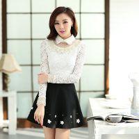 2014秋季新款韩版娃娃领长袖蕾丝修身打底衫t恤  网纱女士上衣