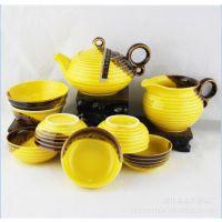 供应现在热销 功夫茶具 10头 螺纹孔雀釉黄茶具 潮州功夫茶具套装