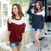 2014新款长袖打底衫韩版女装花边装饰宽松大码蝙蝠袖T恤淘宝代理