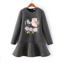 2014秋冬新款 欧美女装 猫头鹰刺绣加厚荷叶边灰色连衣裙5654