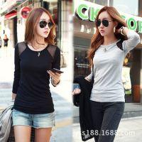 韩版女装秋冬t恤新款 糖果色牛奶丝加绒撞色圆领打底衫长袖T恤女