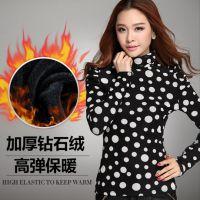 长袖t恤女 秋冬新款韩版大码女装 高领修身加厚加绒打底衫上衣609