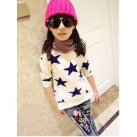 真可爱 女童装秋装新款 韩版蓝色星星儿童长袖T恤圆领打底衫