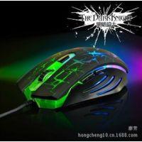 供应新款上市 黑爵 黑暗骑士 6D usb有线鼠标 游戏鼠标 人机工学设计