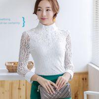 2014秋季新款韩版时尚修身长袖高领蕾丝衫打底衫女装批