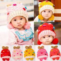 秋冬款彩色点点豹纹针织毛线儿童潮宝宝帽子 韩国保暖儿童帽子M12