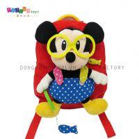 正版迪士尼背包 红色米老鼠儿童背包 新款毛绒玩具背包定制出口