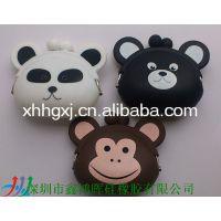 销售新款动物形状硅胶钱包 硅胶迷你动物钱包 熊头硅胶钱包