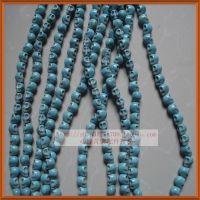天然绿松石 10mm直孔骷髅头饰品配件 diy隔珠珠子 蓝松石散珠批发