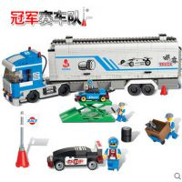 沃马 F1赛车拼装积木 儿童益智拼插塑料积木玩具 赛车队大货柜车