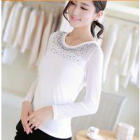 2014秋装新款韩版时尚修身长袖打底衫网纱拼接T恤女装上衣