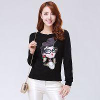 韩版套头圆领针织衫女款 时尚人物图案羊毛针织衫女式毛衣打底衫