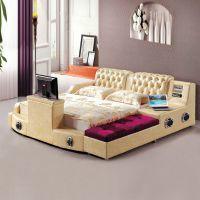 三玛家具家具 功能影视音响床 双人真皮床 大型卧室软体家具1218
