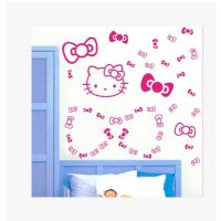 凯迪猫创意蝴蝶结卧室电视床头背景玻璃墙贴卡通可爱装饰 墙纸