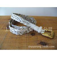 厂家加工PU皮革编织腰带 腊绳编织腰链 米珠编织腰带 珠片绣腰饰