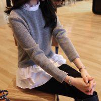2014秋装新款打底衫 韩版女装假两件荷叶边中长款修身针织衫 批发