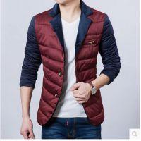 超级爆款冬装新款韩版修身男士时尚休闲西装式棉衣撞色棉服男批发