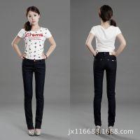 新款秋春装黑色OL通勤女士牛仔裤子中高腰水洗褶皱小直筒裤长宽松