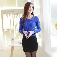 2014秋冬新款韩版修身长袖T恤 时尚蕾丝加绒打底衫 女 爆款批发