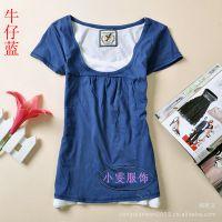 女装夏季新款短袖T恤 韩版小衫假两件T桖半袖 AF女士小衫圆领批发