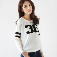 2014新款韩版时尚百搭套头毛衣 纯色蝙蝠袖字母印花打底衫 女6256