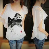2014春夏款韩版女装纯棉白色雪纺短袖女t恤大码修身打底衫潮