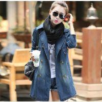 2014秋冬新款女 长袖中长款韩版修身牛仔外套风衣 女装品质批发