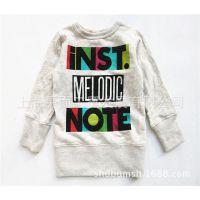 日本童装 彩色字母长袖童T恤 新款男童T恤 外贸原单纯棉打底衫