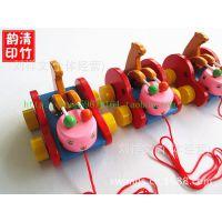 熊打鼓车木制拖拉学步动物拉车小熊敲鼓拖拉车竹木玩具旅游工艺品
