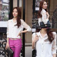 货源韩版雪纺衫女长袖秋装女装衬衫打底衫上装 蕾丝拼接长衬衫