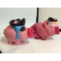 儿童节胖猪存钱罐,儿童存钱罐,搪胶粉猪存钱罐,猪存钱罐