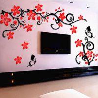 电视墙水晶立体墙贴亚克力浮雕客厅沙发墙背景时尚花藤蝴蝶墙贴