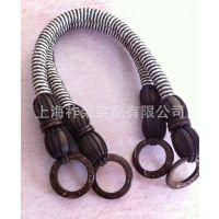 厂家直销|蜡绳编织手挽|手工PU条编织拎手|串珠把手|手工编织提手
