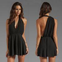 速卖通ebay货源外贸热卖夏季深V领无袖露胸露背时尚性感连衣裙女