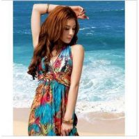 新款波西米亚V领凤尾花异域油彩挂脖长裙拖地沙滩礼服裙 6345