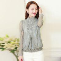 2014秋装新款韩版气质女装大码蕾丝衫修身雪纺衫打底衫上衣