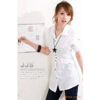 (颜色齐)2014韩版收腰显瘦女式短袖衬衫 职场休闲短袖女装5813