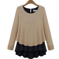 欧洲站女装批发2014秋装新款宽松显瘦长袖T恤假两件套圆领打底衫